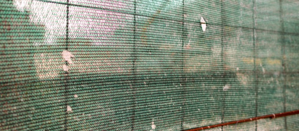 Net protection in industrial building construction site